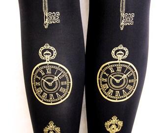S M Steampunk Clock Key Tights Small Medium Gold Black 120 Den Thick Winter Opaque Printed Womens Victorian Lolita Dolly Kei