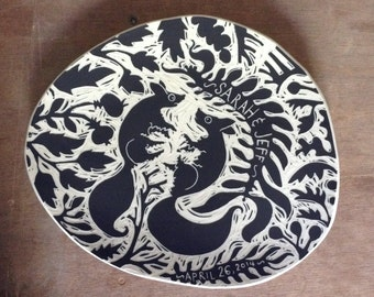 Small Personalized Wedding Plates // Sgraffito, Hand Carved, Custom Ceramic Plate