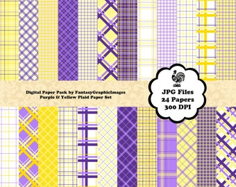 Plaid Digital Paper Tartan Check Purple Yellow The Plaid Series 24 Papers Photography Background DIY Printable Scrapbooking Instant Download