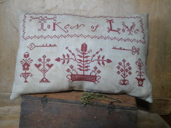 Primitive cross stitch Token of Love Redwork Sampler small pillow