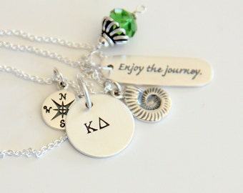 Nautilus Grad Necklace - Graduate 2015 - Compass - Beach Lover Necklace - Seashell Necklace - Milestone Birthday- Grad Gift