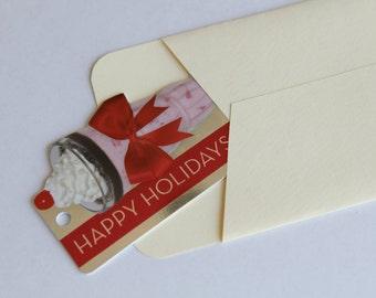 Gift Card Sized Envelopes - Set of 3 - Cream Off White Neutral -Holidays Christmas Stocking Stuffer