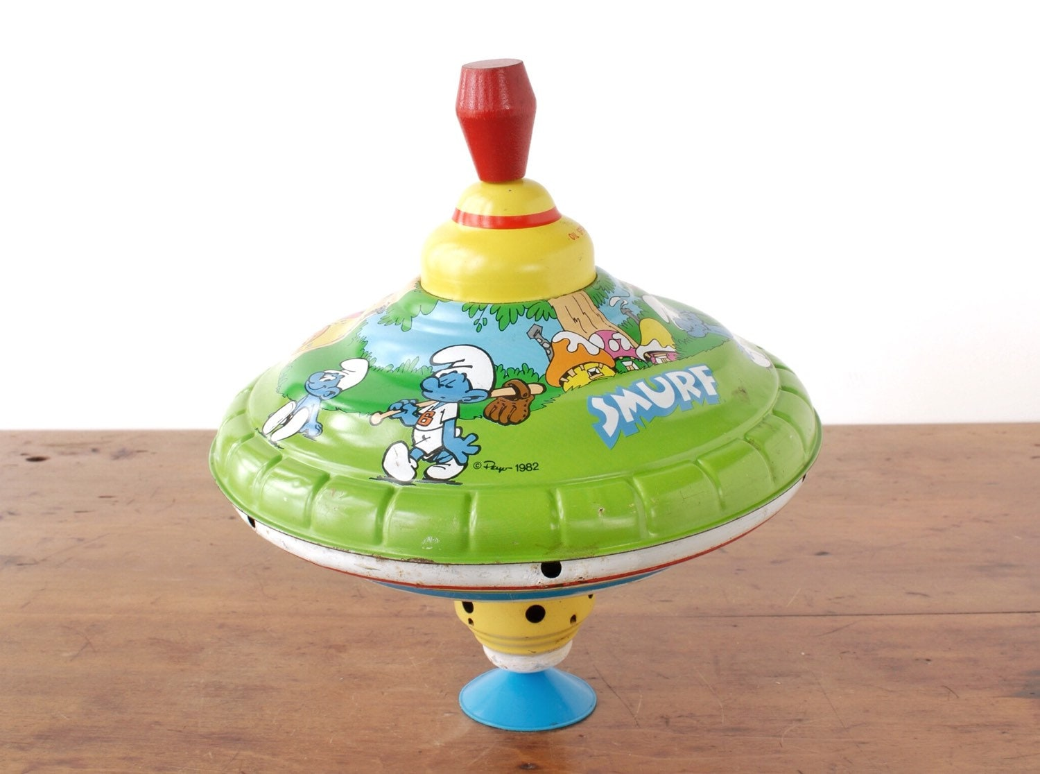 Vintage Smurfs Spinning Top By The Ohio Art Company Tin Litho