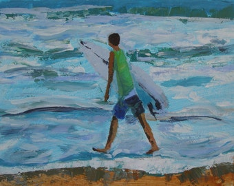 "Surfer #3 - boy surfboard  waves -Original Art  beach painting-8"" x 8"""