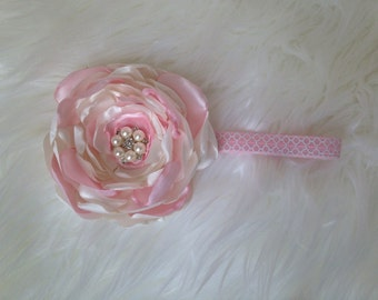 Huge flower headband pink and white on pink and white elastic