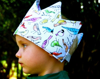 Sale - Fabric Crown -  Dress Up - Organic Cotton - Bird - Whimsical - Toy - Eco Friendly - Children - Kids