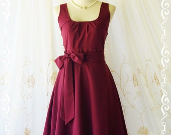 Maroon bridesmaid dress vintage style party tea summer dress