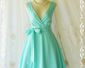 Mint blue dress blue party dress blue sundress vintage dress style blue bridesmaid dresses solid bridesmaid dresses V neck dress