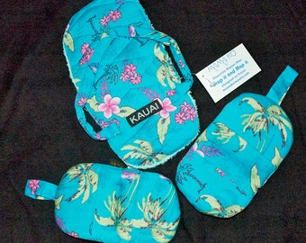 Turquoise Microwave Mitts & Slipper Mop Set