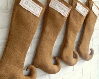 RESERVED FOR ROSLYN: Personalized Christmas Stocking Burlap - Monogram Stocking - Burlap Elf - Farmhouse Rustic Industrial Holiday
