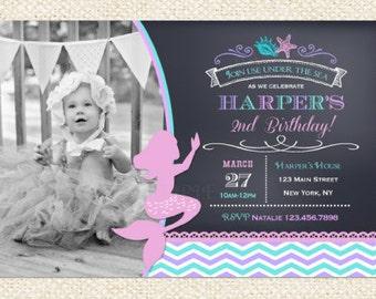 Mermaid Invitations, Mermaid Invitation, Little Mermaid, DIY Printable, Little Mermaid Invites