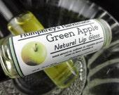 Natural GREEN APPLE Roll On Lip Gloss, Green Apple Flavor, BPA Free Glass Bottle, Sweet Almond Oil Sunflower Oil