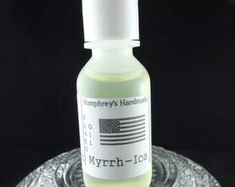 MYRRH-ICA Beard Oil, Cologne Oil, .5 oz Frankincense & Myrrh Scented Beard Conditioner Natural Beard Oil Apricot Kernel Oil Avocado Oil