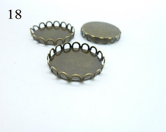 10pcs 18mm Antique  Bronze  Brass Filigree  Cameo Cabochon Base Setting Pendants c4825