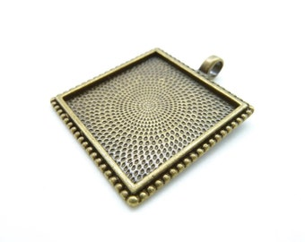 5pcs 32x32mm-25x25mm Antique Bronze Square Cameo Cabochon Base Setting Pendants Charm Pendant C5265