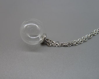 1 set 16mm Clear Glass Globe Bottle Pendant With White K (Rhodium Color) Brass Base Setting and Chain N1057905