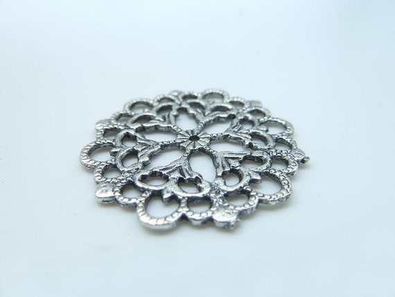10pcs 30mm Antique Silver Filigree Flower Round Connector Link Base Settings B192-2