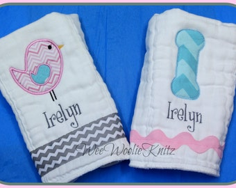 Simple Bird Burp Cloth Set Initial Pink Aqua Grey  Appliqued Personalized