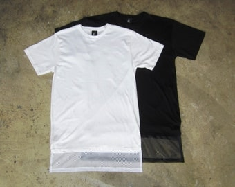 ROJAS long mesh black or white tshirt ....   elongated tee ........  long tshirts net tees