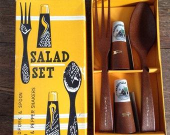 Vintage Salad Set- Nashville Tennesse- Wood Fork/Spoon/Salt & Pepper Shakers