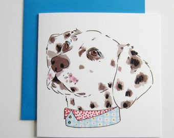 Dalmatian Dog With patterned Spotted Neckwear. Dalmatian. Dalmatian Dog Lover. Blank. 5.5 Inch. Square. Greetings Card