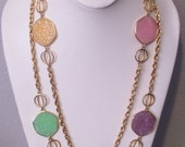 Avon Signed Chain Necklace with Pink, Green, Yellow and Lavender Lucite Disks, Very Nice! LONG Necklace