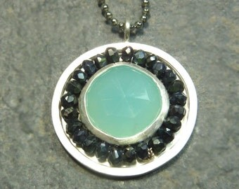 Victoria Necklace- faceted Spinel surrounding Blue Chalcedony- Ready to Ship