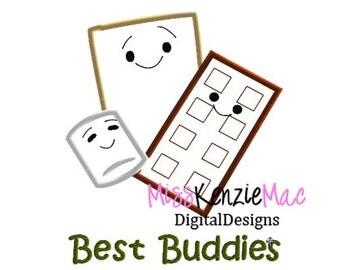 Best Buddies Smores Machine Applique Embroidery Design, Mulitple Sizes