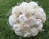 Handmade Natural Ivory  Balsa Wood Flower Wedding Bouquet---Sola Flower Bouquet