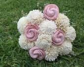 Handmade Natural Balsa Wood Flower Wedding Bouquet---Ivory and Blush Pink Sola Flower Small Bouquet