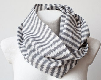 Clearance SALE Grey Stripes Circle Linen Scarf