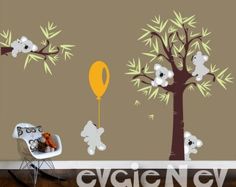 Koala Bear Wall Decals with Baby Koala - Wall Decals Australia for kids, Tree and Five Little Koala Bears with Balloon -  PLTBRS030