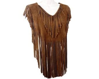 Bohemian Festival Brown Fringe Suede Vest, Poncho, Vintage 1960s to 1970s,