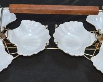 Carousel Shrimp Serving Tray-Milk Glass Shell
