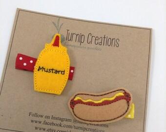 Hot Dog Hair Clip Felt Hair Clip Mustard Feltie Girls Hairclip Food Hair Clip