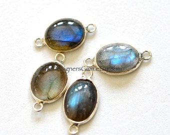 Blue Flash Labradorite Oval Connector with Sterling Silver Bezel