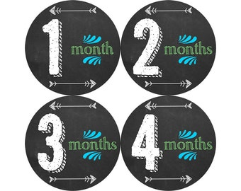 Baby Month Milestone Stickers, Boys Monthly Stickers, Monthly Bodysuit Stickers, Monthly Baby Stickers, Month by Month, Chalkboard (B164)