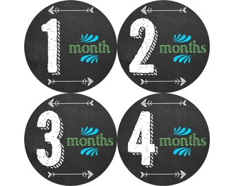 Monthly Baby Stickers, Boys First Year Photo Props, Baby Month Stickers, Baby Announcement, Monthly Photos, Baby Gift, Chalkboard (B164)