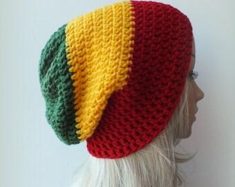 Rasta Beanie, Slouch, Women or Men, Stripped Unisex Slouchy Hat