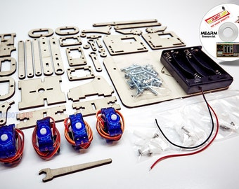 MeArm Deluxe Kit Robotic Arm Includes Laser Cut Components - Servo Motors - Fasteners - MeCon Motion Control Arduino Source Code on CD-Rom