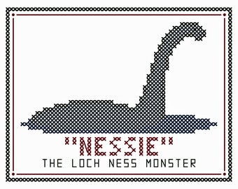 "Set of Two NESSIE and CHAMPY ""Postcard"" Cross Stitch Charts - Featuring the Loch Ness and Lake Champlain Monsters"