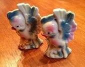 Vintage Salt and Pepper Shakers Pair Ceramic Bird Fancy Tropical