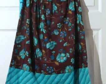 Adult size skirt - Aqua floral on Brown  - Adjustable draw string waist - one size fits most