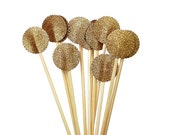 12 Glittered Gold Drink Stirrers, Cocktail Stirrers, Skewers, Sandwich Picks, Cupcake Toppers, Swizzle Sticks - No322