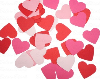 100 Valentine's Pink Red Hearts punch die cut confetti scrapbook embellishments - No895