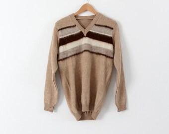 FREE SHIP  vintage 70s men's alpaca sweater, striped pullover