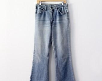 vintage 70s Levi's flare leg jeans, 646 Levis denim, 32 x 30