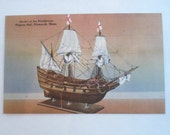 Vintage Linen Postcard Unused form Plymouth Massachusetts of Model of the Mayflower in Pilgrim Hill