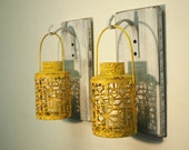 Shabby Chic Yellow Lantern Pair (2) on whitewashed wood board for unique wall decor, home decor, bedroom decor