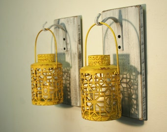 Shabby Chic Yellow Lantern Pair CANDLES INCLUDED on whitewashed wood board for unique wall decor, home decor, bedroom decor